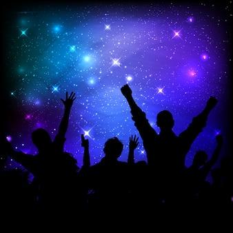 Audience on galaxy night sky background