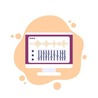 Значок вектора редактирования аудио и звука