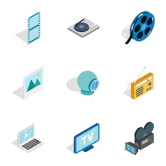 オーディオとビデオのアイコン、等角投影の3dスタイル