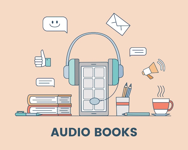 Audio book cartoon outline concept. podcast, audio media, or electronic learning illustration.