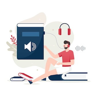 Audio book illustration concept