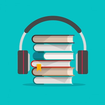Audio books concept with headphones concept  illustration
