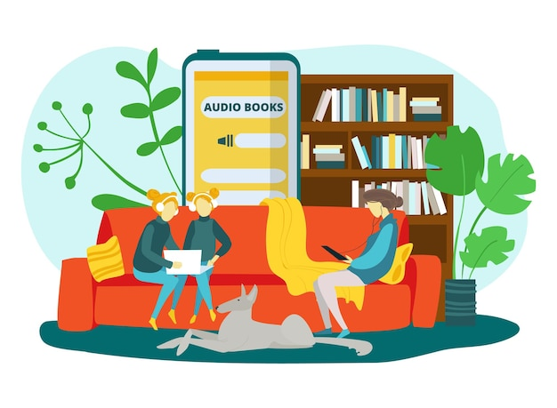 Audio books for home education vector illustration mother daughters girl character listen sound onli...