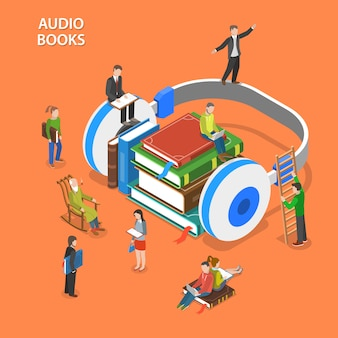 Audio books isometric flat vector concept.