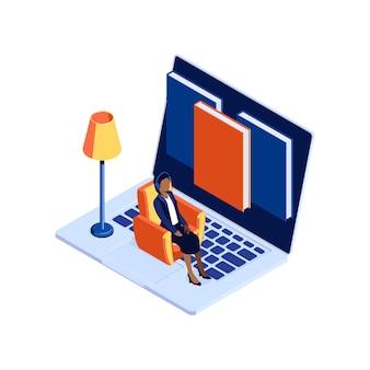 Concetto di libreria di audiolibri con laptop 3d e donna in cuffie isometriche