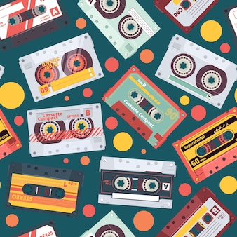 Audio cassette pattern. stereo mixtape record music items funky style retro fashioned seamless background 90s dance wallpaper. illustration audio cassette pattern, music tape sound old-fashion