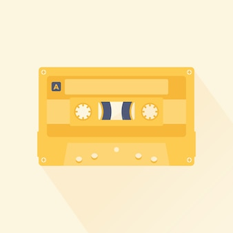 Audio Cassette Tape Flat Design Style Vector Illustration