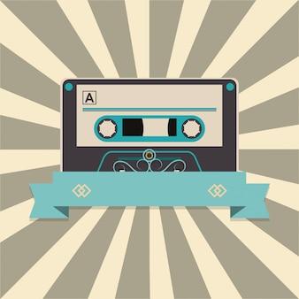 줄무늬 배경 및 배너 이미지 위에 오디오 카세트 테이프