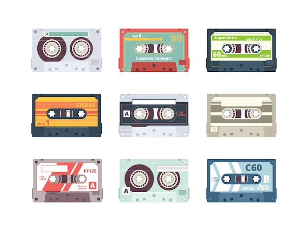 Audio cassettes. retro 90s record stereo tape plastic listening devices hifi music cassettes  colored  collection