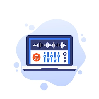 Audio editing and sound production vector icon