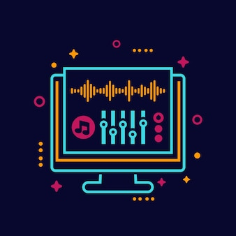 Audio editing and sound production vector illustration