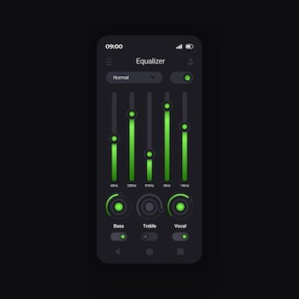 Audio equalization smartphone interface vector template. mobile app page design layout. mixing soundtracks. professional music editing capabilities screen. flat ui for application. phone display