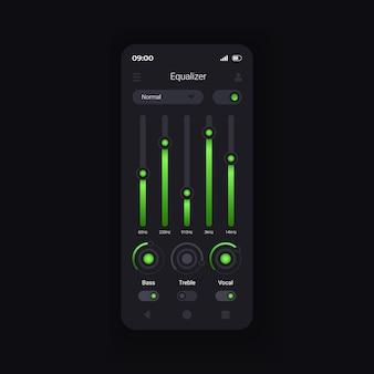 Шаблон вектора интерфейса смартфона выравнивания звука. макет страницы мобильного приложения. сведение саундтреков. экран возможностей профессионального редактирования музыки. плоский интерфейс для приложения. дисплей телефона