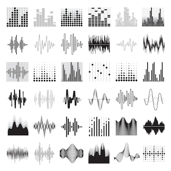 Audio equalizer black white icons set flat isolated vector illustration