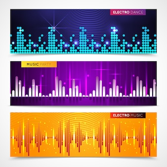 Audio equalizer horizontal banners set with music party symbols flat isolated vector illustration