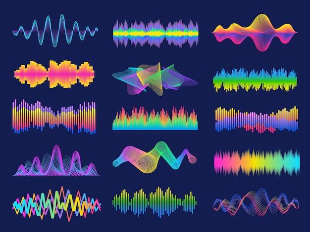 오디오 주파수. 라디오 이퀄라이저용 네온 음악 음파. 디지털 어시스턴트용 음성 인식. 볼륨 그래프 라인 디자인 벡터 세트. 아날로그 및 디지털 오디오 신호, 바 모션
