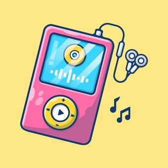 Аудио музыкальный плеер и наушники, изолированные на белом фоне