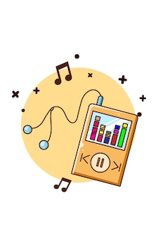 이어폰 아이콘 만화 일러스트와 함께 오디오 음악 플레이어