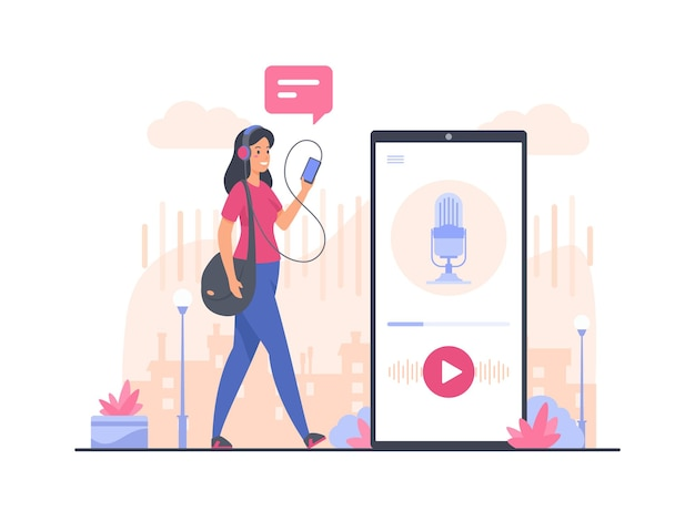 오디오 팟 캐스트 개념 그림입니다. 여성 만화 캐릭터 걷기 및 스마트 폰을 사용하여 오디오 팟 캐스트 듣기