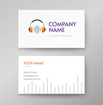 Audio podcast logo or headphone radio wave music and sound logotype on business visiting card template design