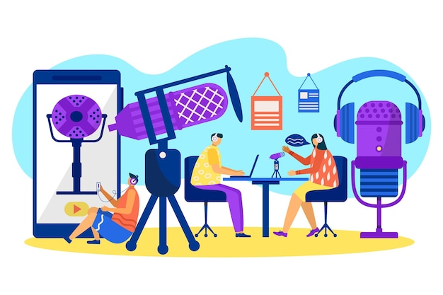 Audio podcast, people record voice by microphone, vector illustration. man woman people character at media studio, communication