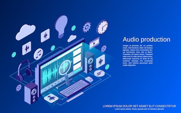 Производство аудио, монтаж плоской изометрической концепции