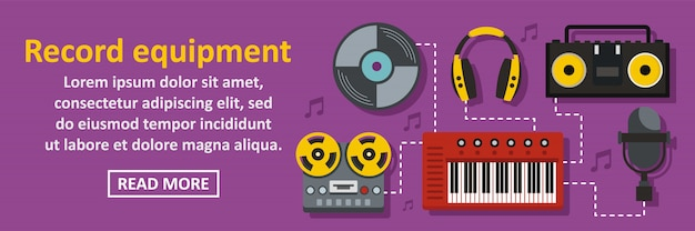 Audio record equipment banner template horizontal concept