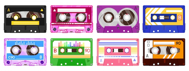 Audio record tapes. retro  music cassette, vintage music mix audio cassette,  audio tape   illustration icon set. music cassette tape, technology 80s record