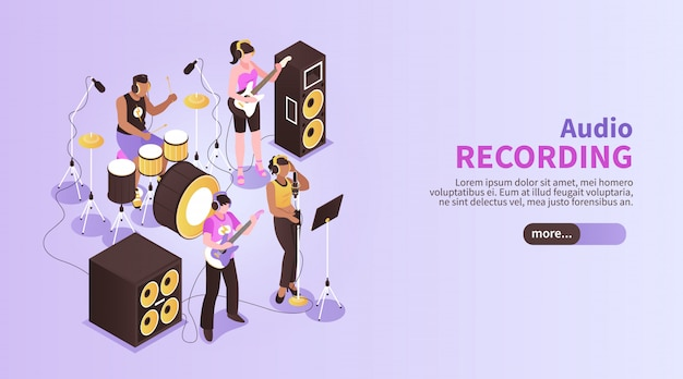 Audio recording horizontal banner with music band playing in recording studio room using musical instruments isometric