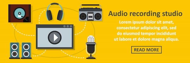 Audio recording studio banner horizontal concept