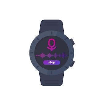 Audio recording ui, recorder in smart watch, vector