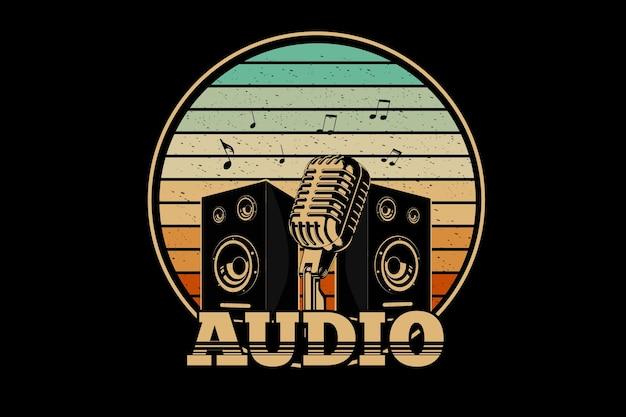 Audio retro design with retro background