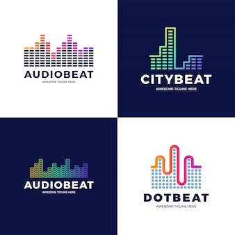 Audio sound wave logo template design. line abstract music technology logotype set. digital element emblem, graphic signal waveform, curve, volume and equalizer.   illustration.