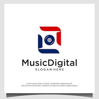 オーディオ音波ロゴテンプレートストックデザイン。ライン抽象的な音楽技術のロゴタイプ。デジタルエレメントエンブレム、グラフィック信号波形、カーブ、ボリューム、イコライザー。イラストベクトル