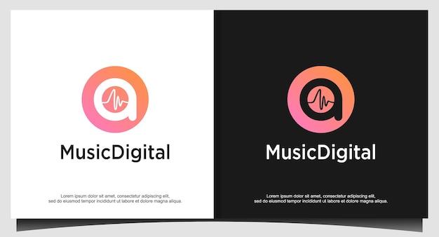 Audio sound wave logo template stock design. line abstract music technology logotype. digital element emblem, graphic signal waveform, curve, volume and equalizer. illustration vector