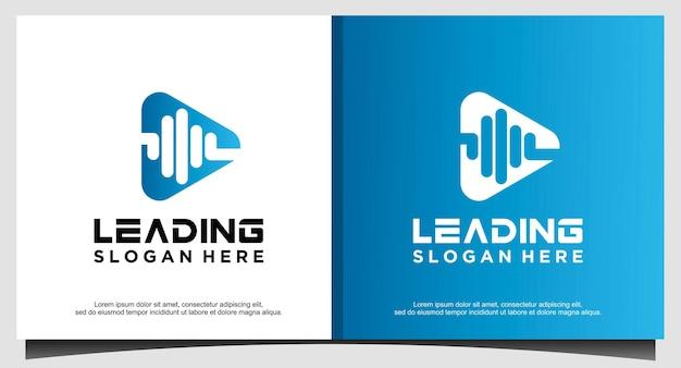 Audio sound wave logo template stock design. line abstract music technology logotype. digital element emblem, graphic signal waveform, curve, volume and equalizer. illustration vectorprint Premium Vector