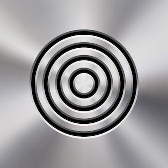 구멍이 뚫린 그릴과 광택이 나는 원형 금속 질감 크롬이 있는 동적 오디오 스피커 템플릿