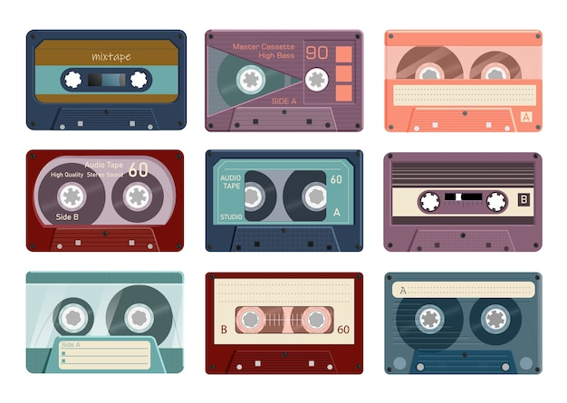 Audio tape. vintage analogue player record tape cassette collection on white background.  retro stereo music mixtape  set illustration. obsolete bilateral magnetic reel strip