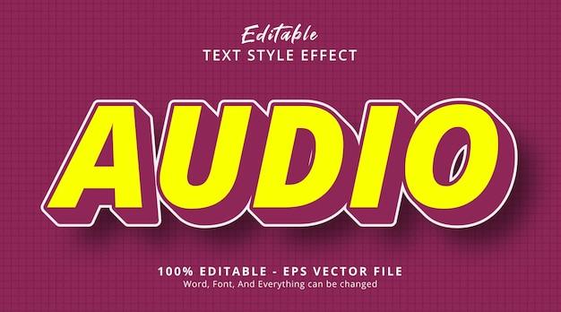 과장된 색상 스타일 효과가 있는 오디오 텍스트, 편집 가능한 텍스트 효과