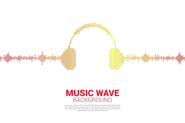 Audio visual headphone icon with pixel wave graphic style