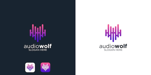 Audio wolf logo design template