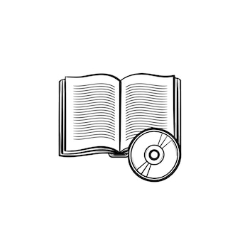 オーディオブックの手描きのアウトライン落書きアイコン。教材-白い背景で隔離の印刷物、ウェブ、モバイル、インフォグラフィックのオーディオブックベクトルスケッチイラスト。