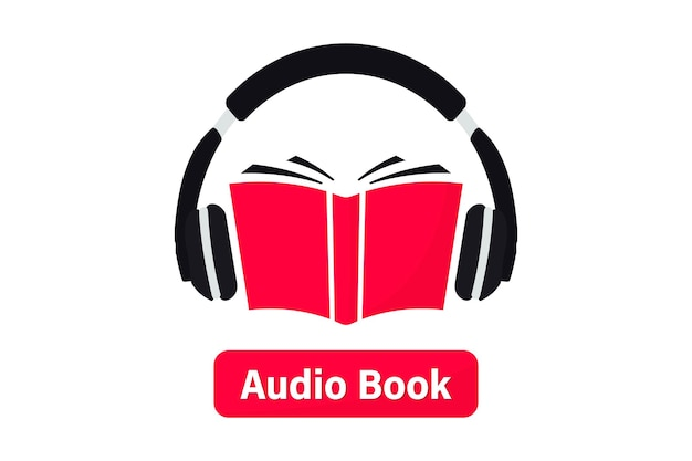 오디오북 로고. 오디오 형식의 문학, 전자 책을 듣습니다. 책 온라인 모바일 응용 프로그램 플랫 아이콘입니다. 헤드폰이 있는 온라인 오디오북, 원격 교육 전자 학습. 팟캐스트, 웨비나, 튜토리얼