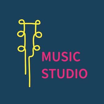 視聴覚ビジネスロゴテンプレート、ブランディングデザインベクトル、音楽スタジオのテキスト