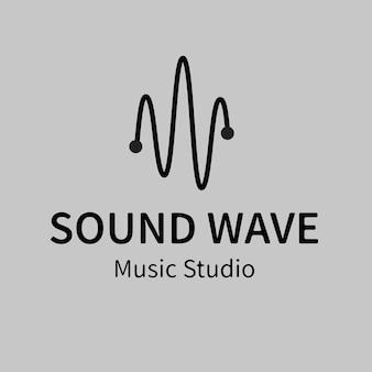 Modello di logo aziendale audiovisivo, vettore di design del marchio, testo dello studio musicale dell'onda sonora
