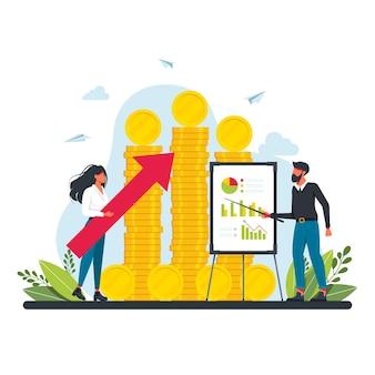 監査の概念。専門的な財務管理。事業運営の調査と分析。財務検査と分析。お金のコインの山を背景に女性と男性が利益を分析します