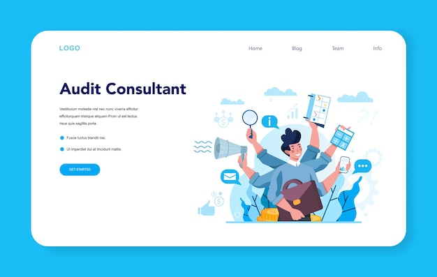 Audit consultant web banner or landing page