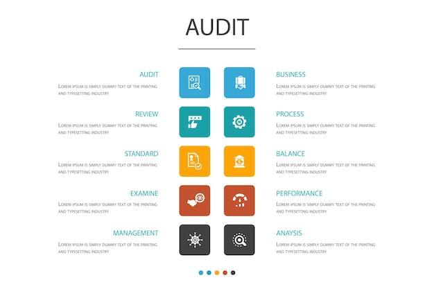 Audit infographic 10 option concept.review, standard, examine, process simple icons