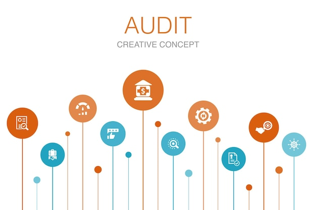 Audit infographic 10 steps template.review, standard, examine, process simple icons