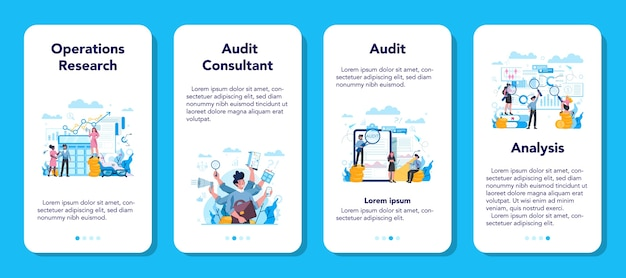 Audit mobile application banner set. business operation research and analysis. financial inspection and analytics.